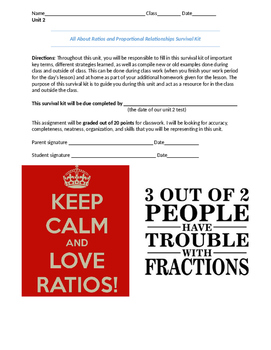 Ratios and Proportional Relationships Unit Survival Kit