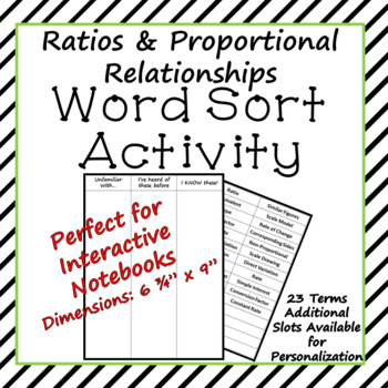 Ratios and Proportional Relationships Word Sort Activity