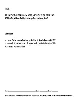 Ratios and Proportions 11 - Finding Percent Increase Using Proportions
