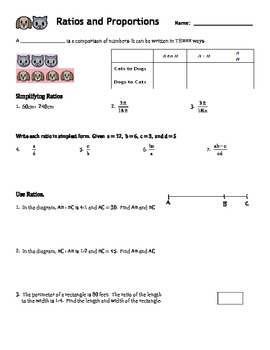 Guided Notes: Ratios and Proportions