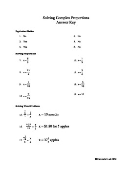 Ratios and Proportions - Complex Fractions - Dividing & Multiplying Fractions