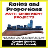 Ratio Projects, Ratio and Proportions Math Enrichment, Plus Vocabulary