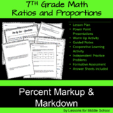 Ratios and Proportions - Percent Markup and Markdown -7th Grade
