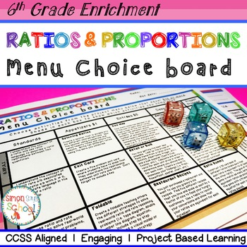 6th Grade Ratios & Proportions Relationships Choice Board –Enrichment Math Menu