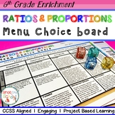 6th Grade Ratios & Proportions Relationships Choice Board  – Distance Learning