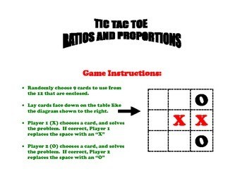 Ratios and Proportions Tic Tac Toe Game