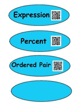 Ratios and Proportions Vocabulary Words with QR Codes