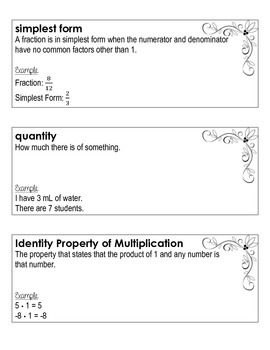 Ratios and Proportions Word Wall