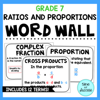 Ratios and Proportions Word Wall - Grade 7