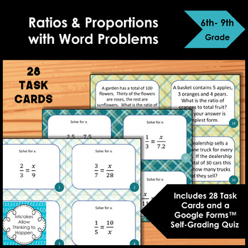 Ratios and Proportions with Word Problems Task Cards