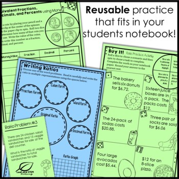 Ratios and Rates Interactive Notebook Set