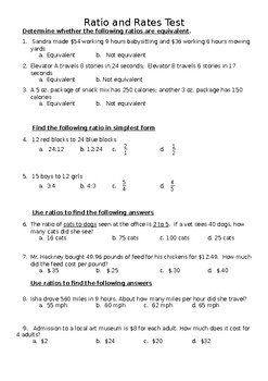 Ratios and Rates - Multiple Choice Test