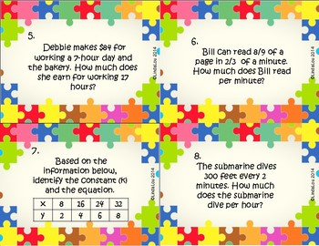 Ratios and Rates Task Cards