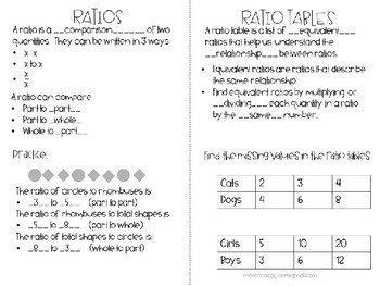 Ratios and Ratio Tables Notes/Foldable Common Core aligned