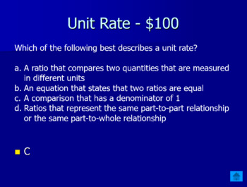 Ratios and Unit Rates Jeopardy Review Game