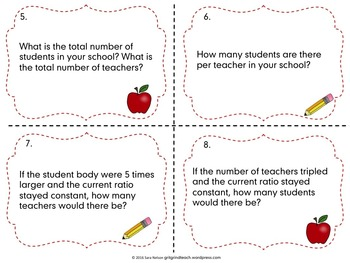 Ratios in the Classroom Task Cards (Back to School Math)