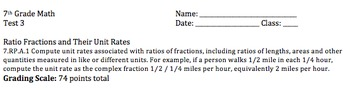 Ratios of Fractions and Their Unit Rates Test (Eureka Math Lessons 11 and 12)
