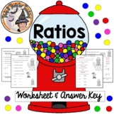 Ratios Practice Worksheet with ANSWER KEY Simplify Ratio Equivalent Word Problem