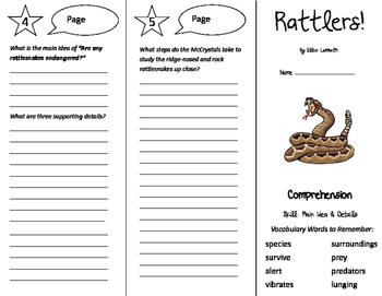 Rattlers Trifold - California Treasures 5th Grade Unit 5 Week 2