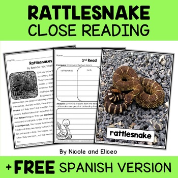 Close Reading Passage - Rattlesnake Activities