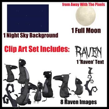 Raven Clip Art Set Color and Blackline - Clipart for Teachers