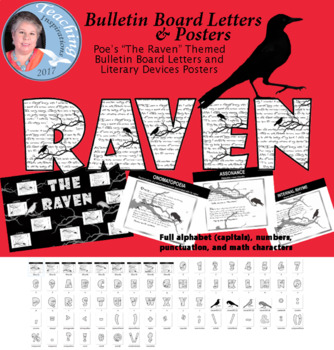 Raven Themed Clipart Letters Set and Literary Device Posters