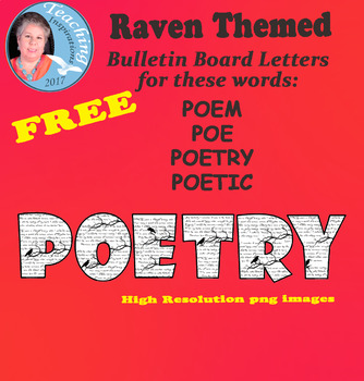 Raven Themed Letters to Spell the Word POETRY