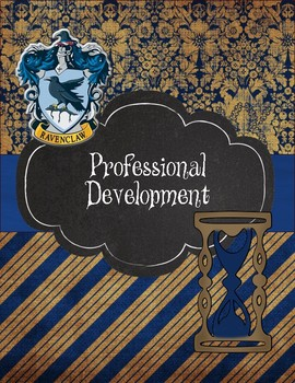 Ravenclaw Teacher Binder 2017-2018 Blue Stripes and Damask
