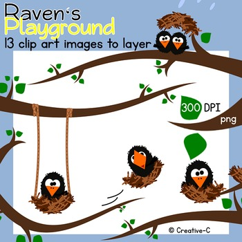 Ravens Playground - Bird Clip art - Commercial Use {Creative-C}