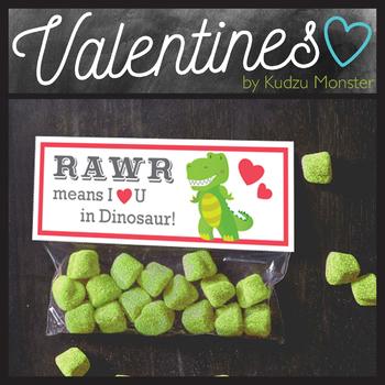 Rawr Dinosaur Valentine Treat Topper