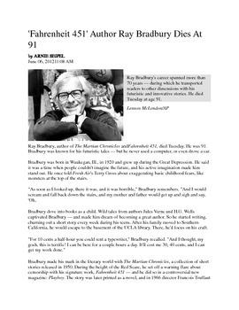 Ray Bradbury: Analysis Activity
