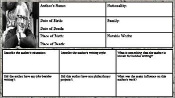 Ray Bradbury Author Biography/Graphic Organizer