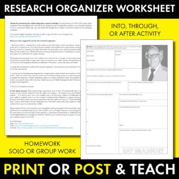 Ray Bradbury Author Study Worksheet, Easy Biography Activity, CCSS