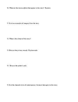 "Ray Bradbury: ""Fever Dream"" Worksheet  or Test and Answer Key"