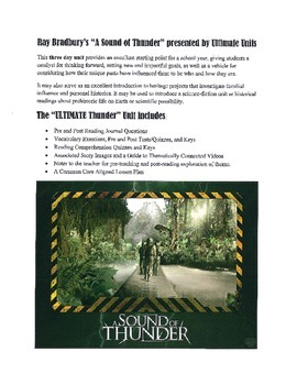 """Ray Bradbury's """"A Sound of Thunder"""" Science Fiction Mini-Unit by Ultimate Units"""