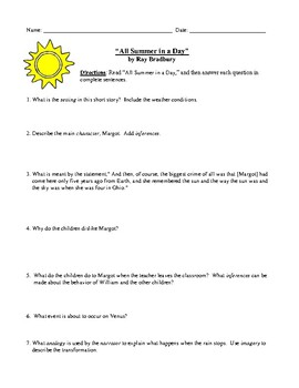 graphic about All Summer in a Day Worksheet referred to as Ray Bradburys \