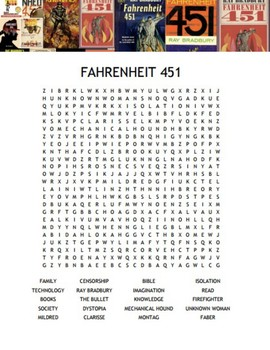 Ray Bradbury's classic novel Fahrenheit 451 Word Search (w/ Key)