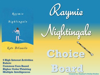 Raymie Nightingale Choice Board Novel Study Activities Menu Book Project