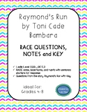 Raymond's Run RACE questions, RACE notes, sentence starters, bookmarks & rubric