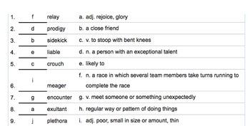 Raymond's Run Vocabulary Quiz