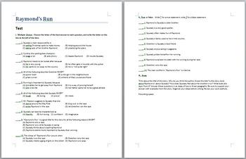 Raymond's Run exam - multiple choice, true and false, and essay