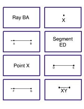 Rays, Lines and Line Segments Memory Matching Game