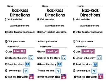 Raz-Kids Directions Bookmark
