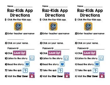 Raz-Kids Website and App Directions Bookmarks