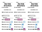 Raz-Kids Website and App Directions Bookmarks