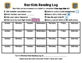 Raz-Kids Reading Log for the MONTH