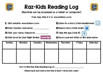 Raz-Kids Reading Log for the WEEK