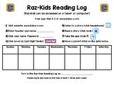 Raz-Kids Reading Log for the WEEK