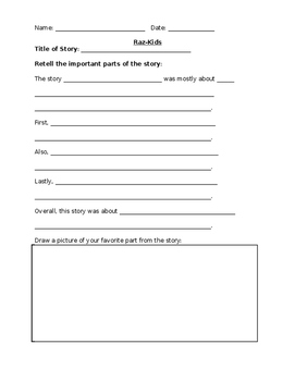 Raz-Kids Retell Fiction Story