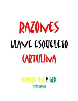 """Razones Llave de Esqueleto Cartulina (11""""x25"""")"""